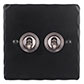 2 Gang Steel Dolly Switch Matt Black Hammered Plate