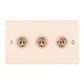 3 Gang Brass Dolly Switch Plain Ivory Hammered Plate
