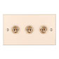 3 Gang Brass Dolly Switch Plain Ivory Bevelled Plate
