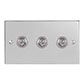 3 Gang Chrome Dolly Switch Nickel Bevelled Plate