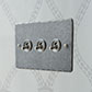 3 Gang Steel Dolly Switch Polished Hammer Plate