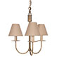Three Arm Classic Pendant Light in Antiqued Brass