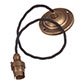 Antiqued Brass Rose with 50cm Black Braided Cable & Bayonet Lampholder
