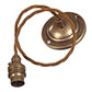 Antiqued Brass Rose with 50cm Bronze Braided Cable & Bayonet Lampholder