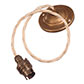 Antiqued Brass Rose with 50cm Cream Braided Cable & Bayonet Lampholder