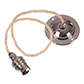 Nickel Rose with 50cm Cream Braided Cable &Bayonet Lampholder
