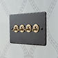 4 Gang Brass Dolly Switch Beeswax HammeredPlate