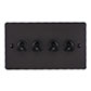 4 Gang Black Dolly Switch Beeswax Hammered Plate