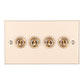 4 Gang Brass Dolly Switch Plain Ivory Bevelled Plate