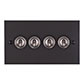 4 Gang Steel Dolly Switch Matt Black Bevelled Plate