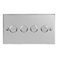 4 Gang Rotary Dimmer Nickel Bevelled Plate