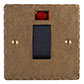 45amp Cooker Switch Antiqued Brass Hammered Plate, Black Insert