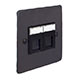 Combined BT Master/RJ45 Socket Beeswax Hammered Plate, Black Insert