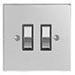 2 Gang Chrome Grid Switch Nickel Bevelled Plate