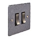 2 Gang Steel Grid Switch Polished Hammered Plate