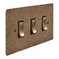 3 Gang Brass Grid Switch Antiqued Brass Hammered Plate