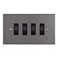 4 Gang Black Grid Switch Polished Bevelled Plate(discontinued, only stock shown available)