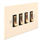 4 Gang Brass Grid Switch Plain Ivory Bevelled(discontinued, only stock shown available)