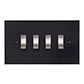 4 Gang Steel Grid Switch Matt Black Bevelled Plate(discontinued, only stock shown available)