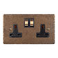 2 Gang Plug Socket Antiqued Brass Hammered Plate, Brass Switches