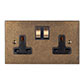 2 Gang Plug Socket Antiqued Brass Bevelled Plate,Brass Switches