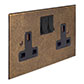 2 Gang Plug Socket Antiqued Brass Bevelled Plate, Black Switches