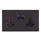 2 Gang Plug Socket Beeswax Bevelled Plate, Black Switches