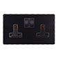 2 Gang Plug Socket Matt Black Hammered Plate, Black Switches