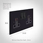 2 Gang Plug Socket Matt Black Bevelled Plate, Black Switches