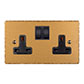 2 Gang Plug Socket Old Gold Hammered Plate, Black Switches