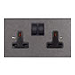 2 Gang Plug Socket Polished Bevelled Plate, Black Switches