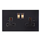 2 Gang Plug Socket Matt Black Bevelled Plate, Brass Switches