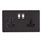 2 Gang Plug Socket Beeswax Hammered Plate, Steel Switches