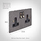 2 Gang Plug Socket Polished Hammered Plate, Steel Switches