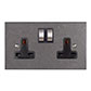 2 Gang Plug Socket Polished Bevelled Plate, Steel Switches