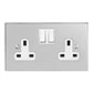 2 Gang Plug Socket Nickel Bevelled Plate, White Switches