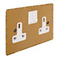 2 Gang Plug Socket Old Gold Hammered Plate, White Switches