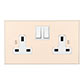 2 Gang Plug Socket Plain Ivory Bevelled Plate, White Switches