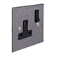 1 Gang Plug Socket Polished Bevelled Plate, Black Switch