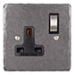1 Gang Plug Socket Polished Hammered Plate, Steel Switch