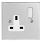 1 Gang Plug Socket Nickel Bevelled Plate, White Switch