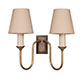 Rowsley Double Wall Light in Antiqued Brass