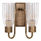 Double Morston Light, Antiqued Brass, Fluted Glass