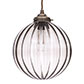Fulbourn Charcoal  Glass Pendant in Antiqued Brass