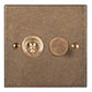 2 Gang Brass Dolly/Rotary Dimmer Switch Antiqued Brass Bevelled Plate