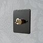 2 Gang Brass Dolly/Rotary Dimmer Switch Beeswax Hammered Plate