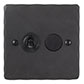 2 Gang Black Dolly/Rotary Dimmer Switch Beeswax Hammered Plate