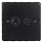2 Gang Black Dolly/Rotary Dimmer Switch Matt Black Hammered Plate