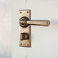 Chester Handle, Bristol Privacy Plate, Antiqued Brass