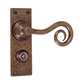 Curled Handle, Bristol Privacy Plate, Antiqued Brass